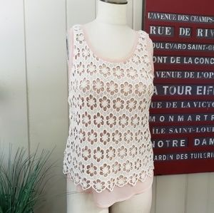 Ann Taylor | S pink tank with embroidery overlay